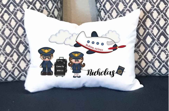 Personalized Pillow Personalized Toddler Size Airplane Pillowcase with Pillow Included 14x18 Travel Pillow Toddler Pillowcase