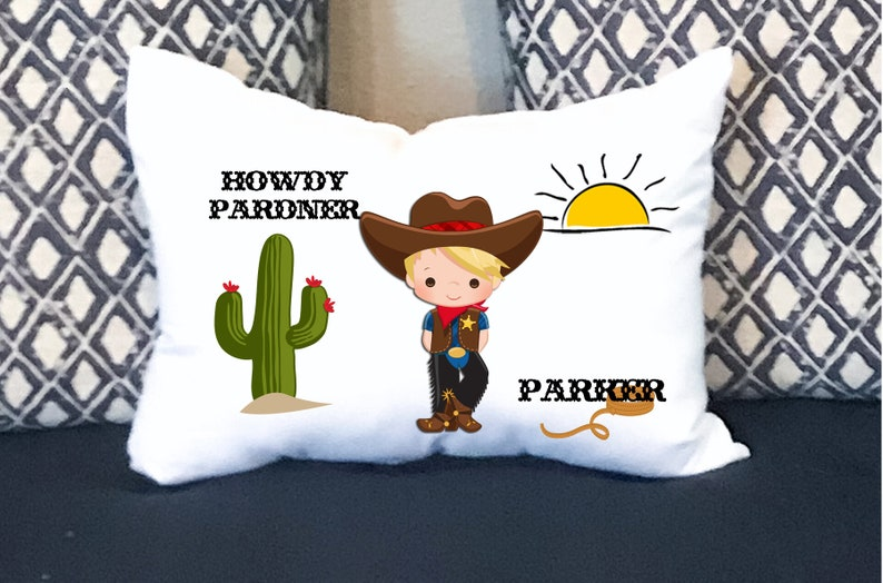 Cowboy Kids Pillow Personalized Pillow Boys Decor Kids Gifts Personalized Gifts Toddler Bedding