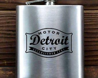 """Detroit """"Buckle Blackout"""" Flask"""