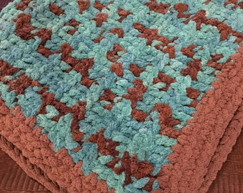 Super Soft and Snuggly Baby Blanket, Crochet Teal and Brown