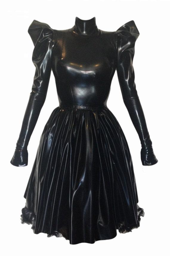 Böse Jane Doe Königin Latex KnielangGummiLange Kleid Ärmel W2E9DIH