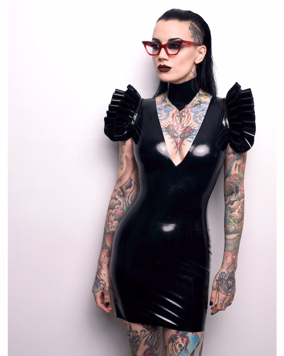 0609b8f5252 Isobel Frill Shoulder Mini Dress Jane Doe Latex rubber