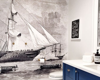 Ships Mural - Black and White Wallpaper, Vintage Illustration