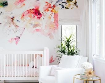 Spring Floral - Large Wall Mural, Watercolor Wallpaper