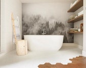 Foggy Hills Mural - Black and White Wallpaper, Trees Mural
