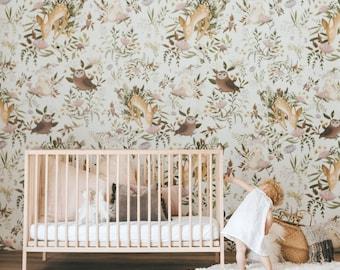 OH Deer Wallpaper - Light   Forest Bunny Scene Mural   Floral Nursery Wallpaper