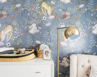 OH Deer Mural - Forest Bunny Scene Wallpaper, Garden Scene