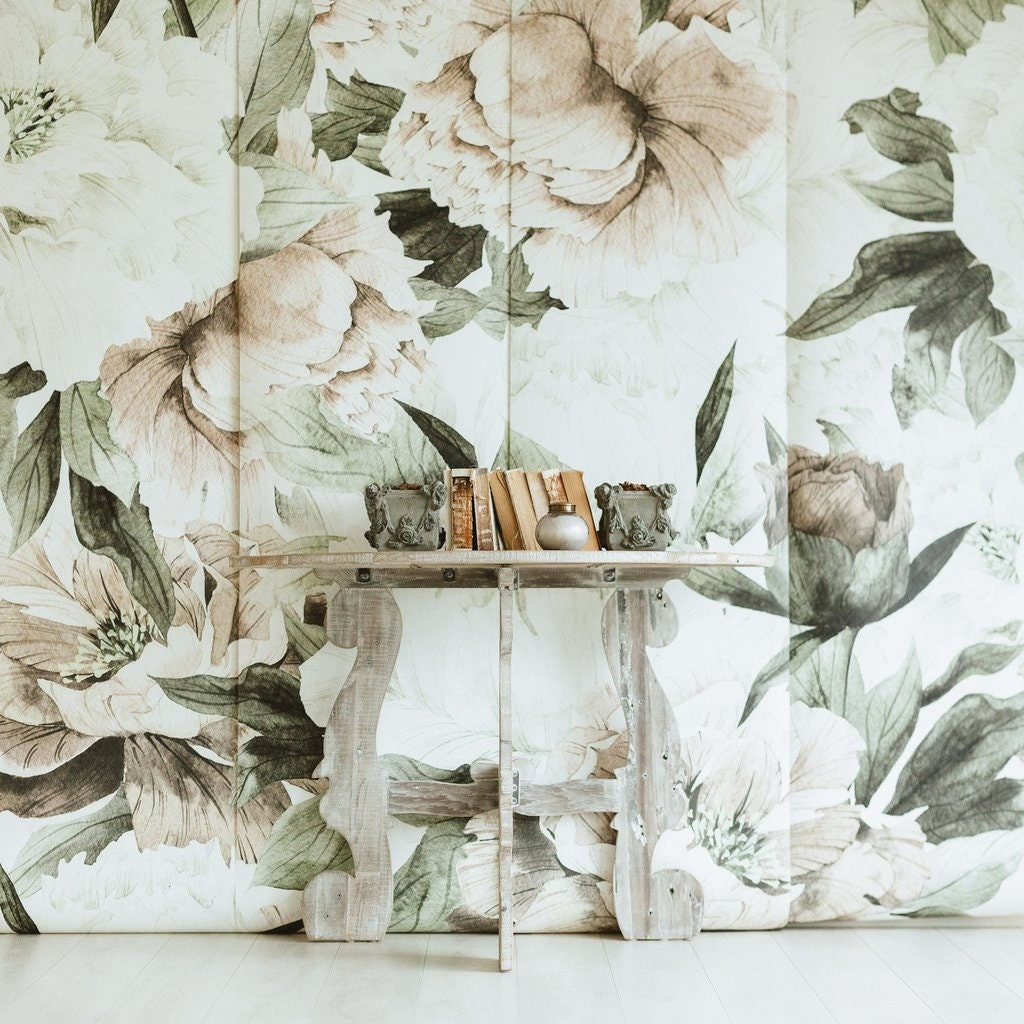 Sale Blush Floral Wallpaper Vintage Mural Watercolor Etsy