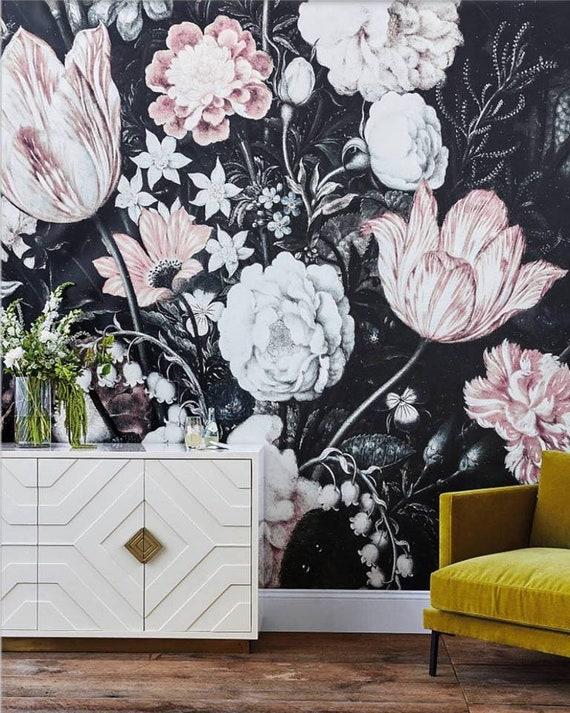 Blossoms Mural Large Wall Mural Large Flowers Mural Dark Etsy