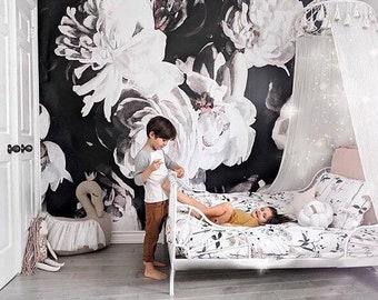 Bouquet of Peonies Mural - Dark Floral Wallpaper