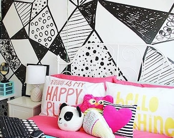 Geometric Shapes Mural - Black and White Large Wallpaper