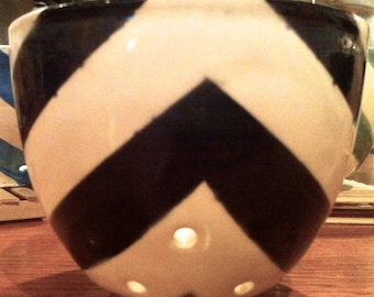 Small Black Chevron Single Serving or Berry Colander or Orchid Planter