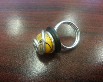 Tiger Striped Glass Bead Ring
