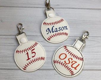 Embroidered Baseball Mom for Key fob Keychain holder wristlet