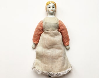 Vintage porcelain doll - antique style dolly, doll's house, children's toys, cloth doll, rag doll, shabby chic, little girls, collectible