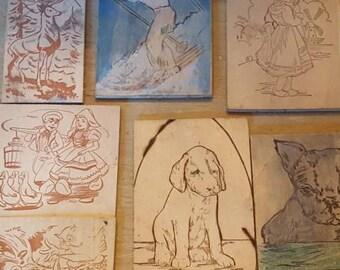Vintage Wood Burning Plates. Dog,Cats, Children,Characters Take A L@@K!/Wood Burning/ Vintage Childrens Wood Burning