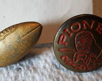2 Pcs. Vintage Lapel Pins with Studs No Pins No Pinbacks Football and Pioneer Stud L@@K