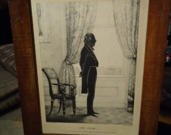 John Tyler Lithograph / Silhouette / 1800's / Very Rare / MUST SEE!!