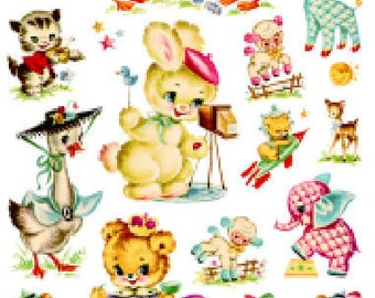 Vintage Image Shabby Baby Nursery Decals Transfers Dollhouse Miniature D\u00e9coupage~ MIN700