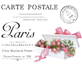 Vintage French Cartel Postal Furniture Transfers Waterslide Decals MIS640  Roses Violets U PIC