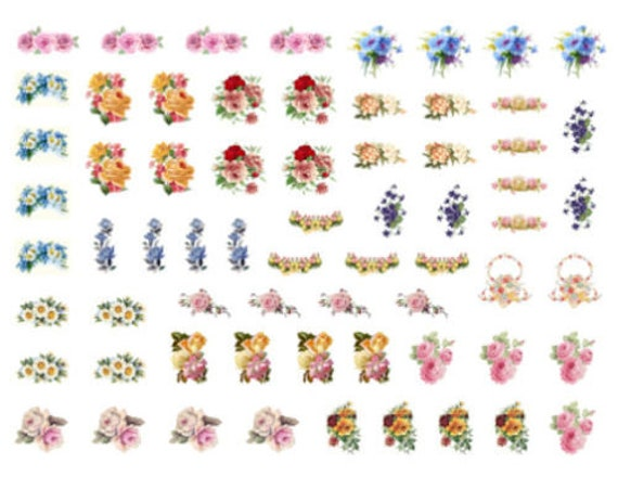 VinTaGe IMaGe XL ExQuiSiTe WhiTe FLoWeRs ShaBby WaTerSLiDe DeCALs FuRNiTuRe SiZe