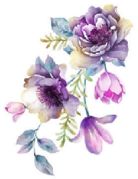 Shabby Soft Pastel Watercolor Bouquet Flowers Floral  Waterslide Decals FL500