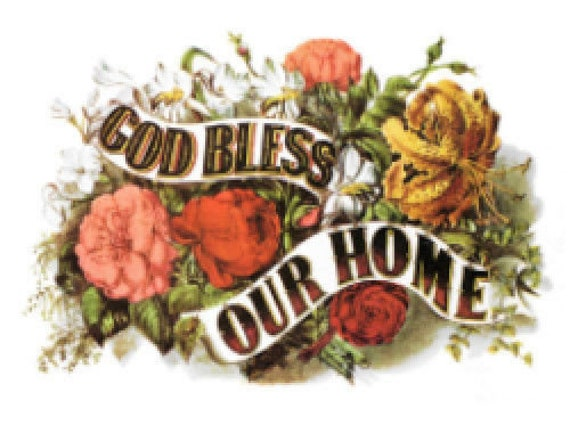 Vintage Image Victorian God Bless Our Home Sign Label Waterslide Decals MIS532