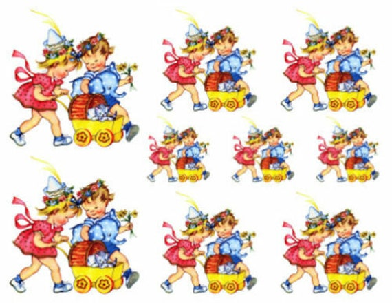 Vintage Image Retro Boy And Girl Baby Carriage Kitten Transfers Waterslide Decals KID422
