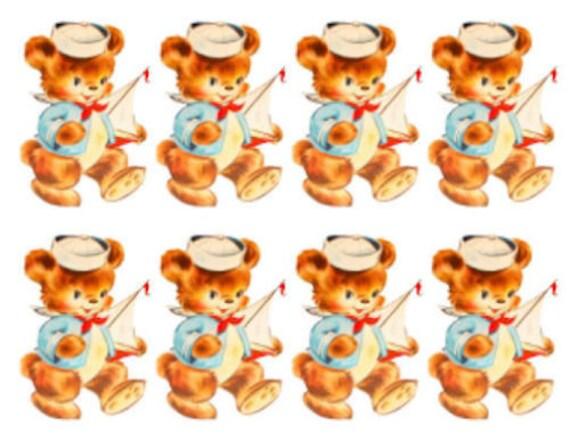 Vintage Image Shabby Retro Nursery Sailor Teddy Bear Waterslide Decals AN730