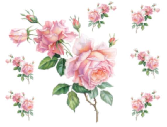 Pink Rose Single Stem Flower Select-A-Size Waterslide Ceramic Decals Bx