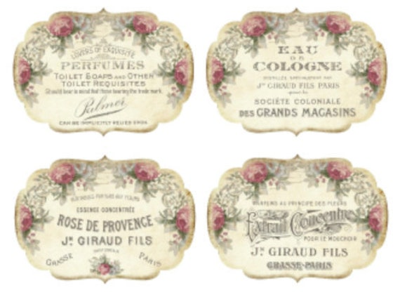 Vintage Image Victorian Roses Birds French Labels Transfers Decals LAB418