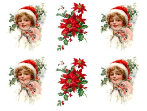 Vintage Image Victorian Christmas Woman Poinsettia Waterslide Decals CHR256