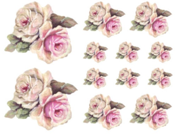 Vintage Image Shabby Roses Furniture Transfers Decoupage Waterslide Decals FL430