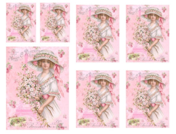 VinTaGe IMaGe XL ReTrO LiTTLe GiRL PinK BoW SHaBbY WaTerSLiDe DeCALs FuRNiTuRe
