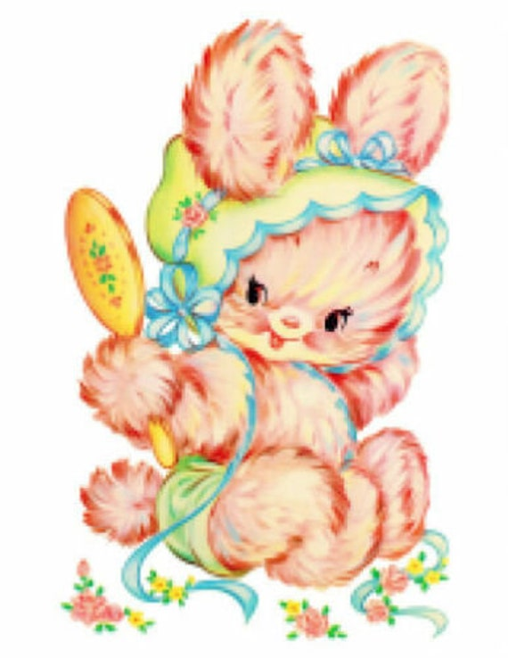 Vintage Image Kitten With Spring Floral Bonnet and Bow Waterslide Decals AN603
