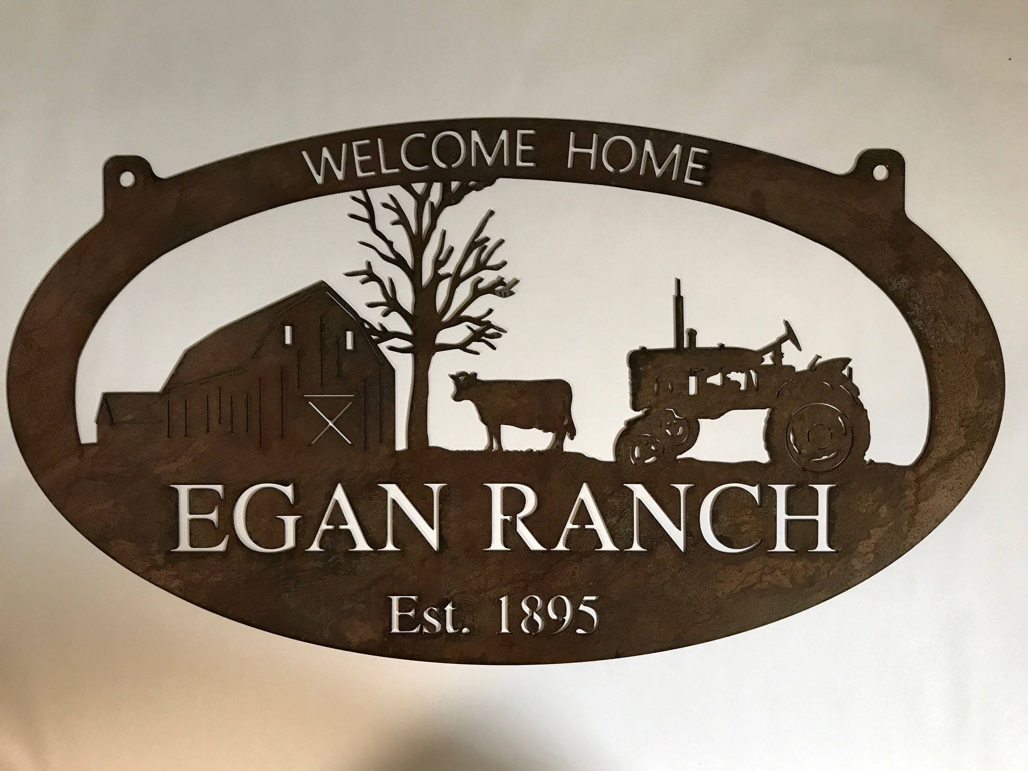 Welcome Home Metal Sign With Barn And Cow And Tractor