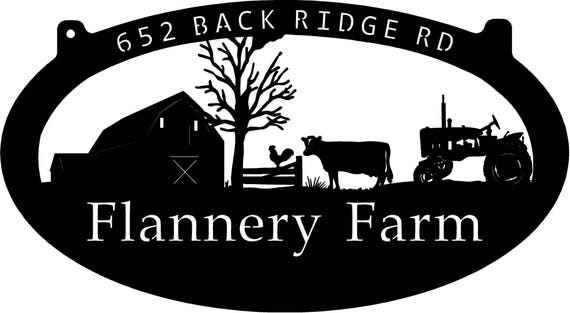 3ft Personalized Metal Sign With Barn And Cow And Chicken