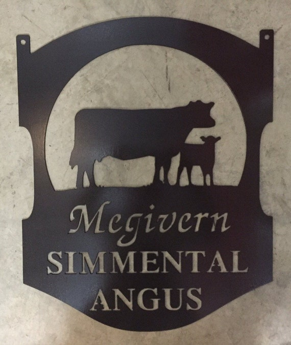 Farm Family Name Sign Laser Cut Cow Calf