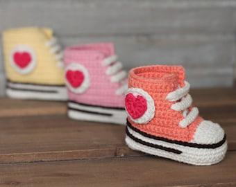 "Crochet PATTERN high top sneaker,  ""Old Skool kicks"" girls high top booties PATTERN ONLY"