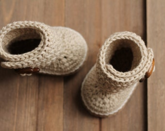 "Crochet PATTERN Boots ""Indie"" Cute Crochet Baby Bootie Beige Slipper, Crochet Boots, Crochet Pattern, Baby Booties PATTERN ONLY"