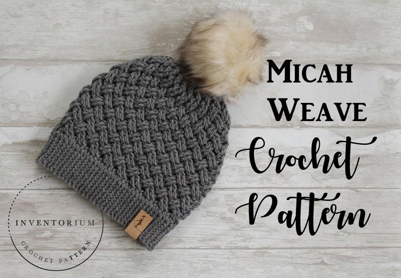79e9d0ba CROCHET PATTERN Micah Weave Beanie Crochet | Etsy