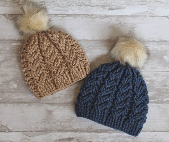 Crochet Pattern Brooklyn Cables Beanie Chunky Yarn Etsy
