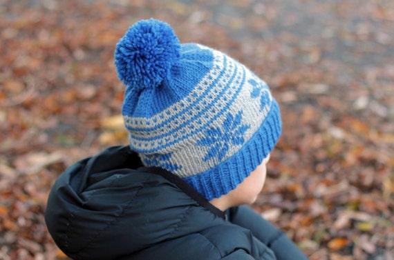 Knitting Pattern Kayden Snowflake Beanie Boys Etsy