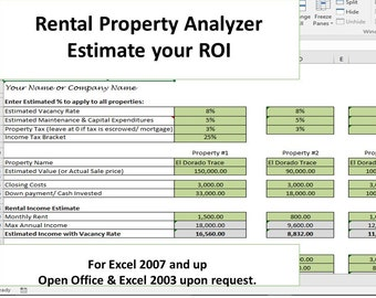 Landlords spreadsheet template rent and expenses spreadsheet etsy investment property analyzer rental property calculator investment property roi maxwellsz