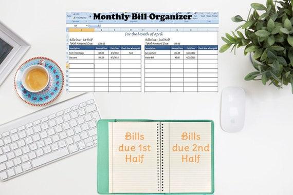 Monatliche Rechnung Organizer Bill Tracker berechnet Gesamt | Etsy