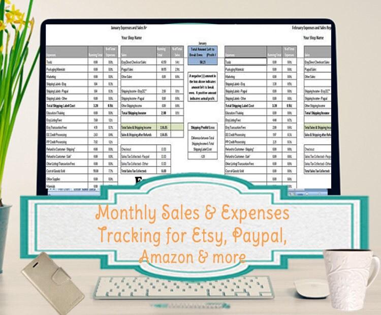 Monatlichen Verkäufe und Ausgaben Tabelle fasst Etsy & der | Etsy
