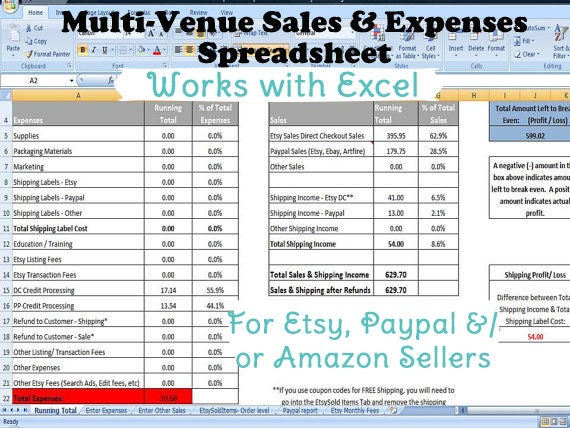 Multi Venue Sales And Expenses Spreadsheet Summarizes Etsy Etsy