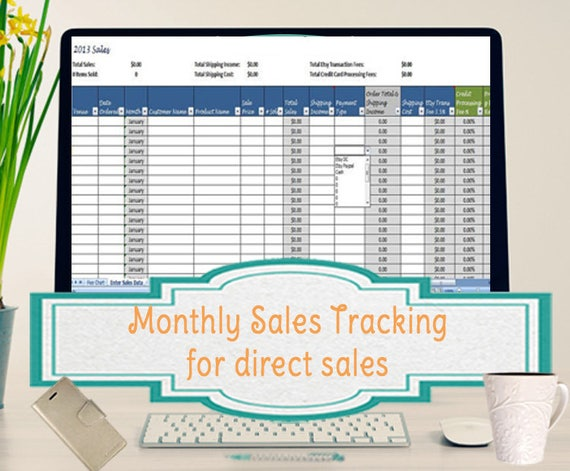 sales template monthly sales tracking template direct sales etsy