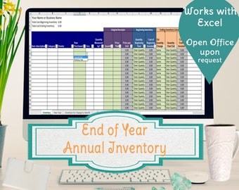 Annual Inventory Spreadsheet, Track Beginning and Ending Inventory in Excel Worksheet