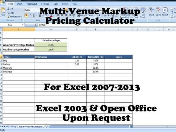 retail markup calculator markup pricing formula excel margin etsy